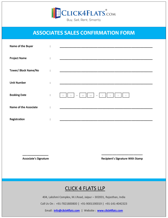 Associates Sales Confirmation Form