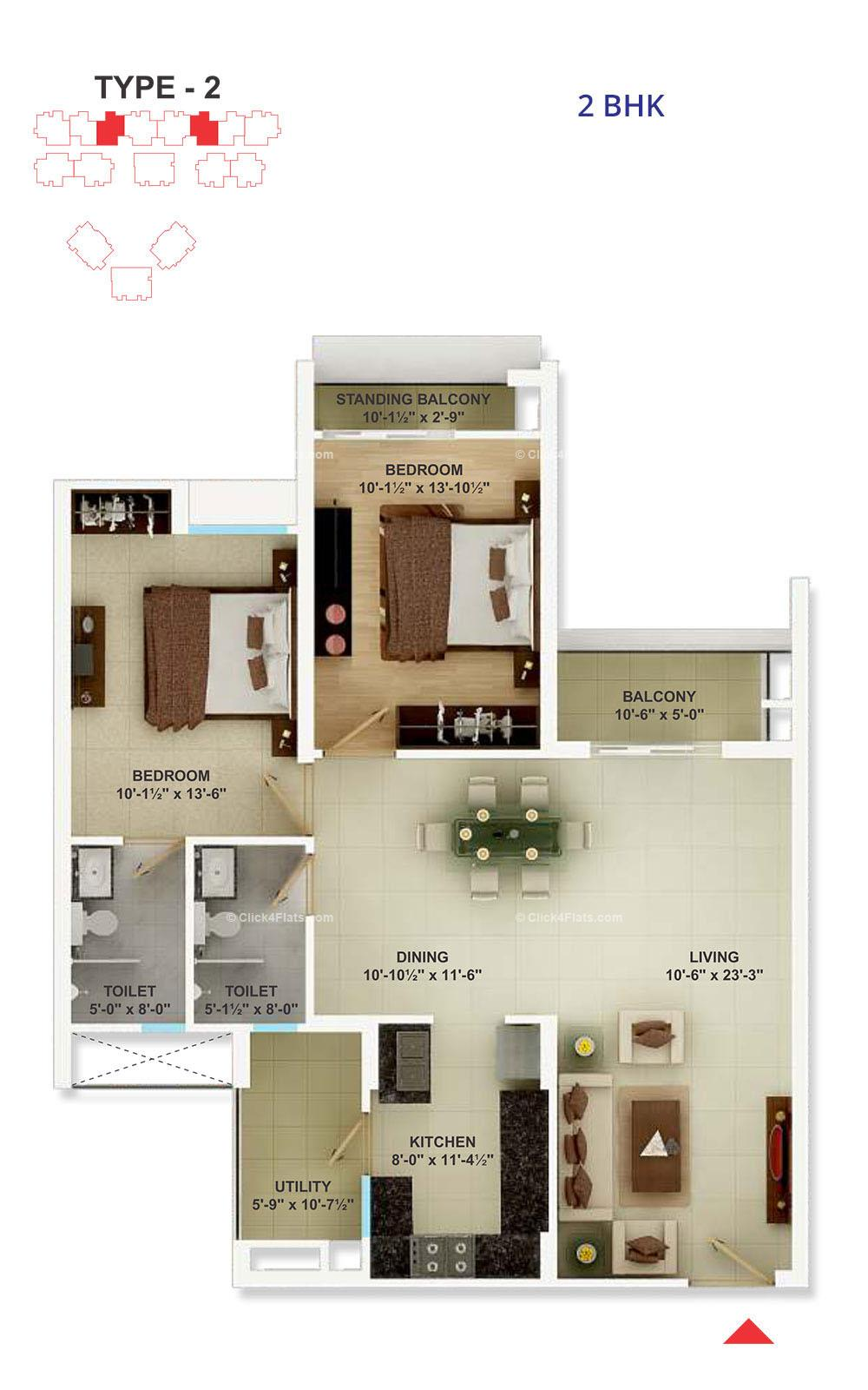 Cedar Luxuria 2 BHK