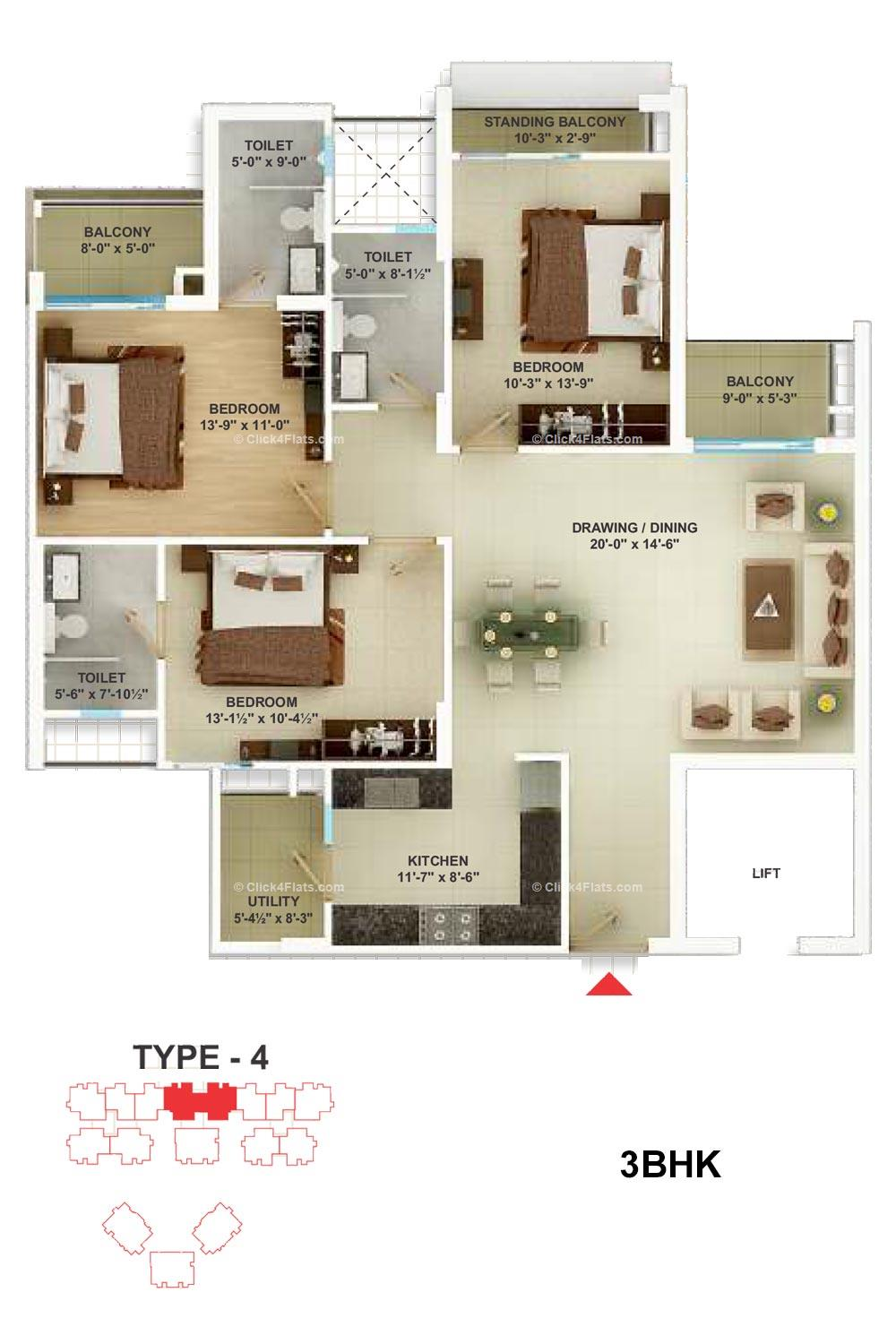 Cedar Luxuria 3 BHK