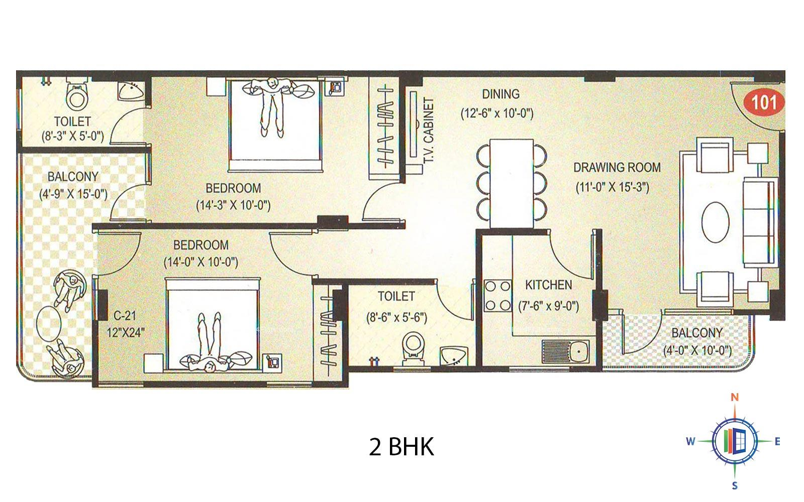 Diamond Residency 2 BHK