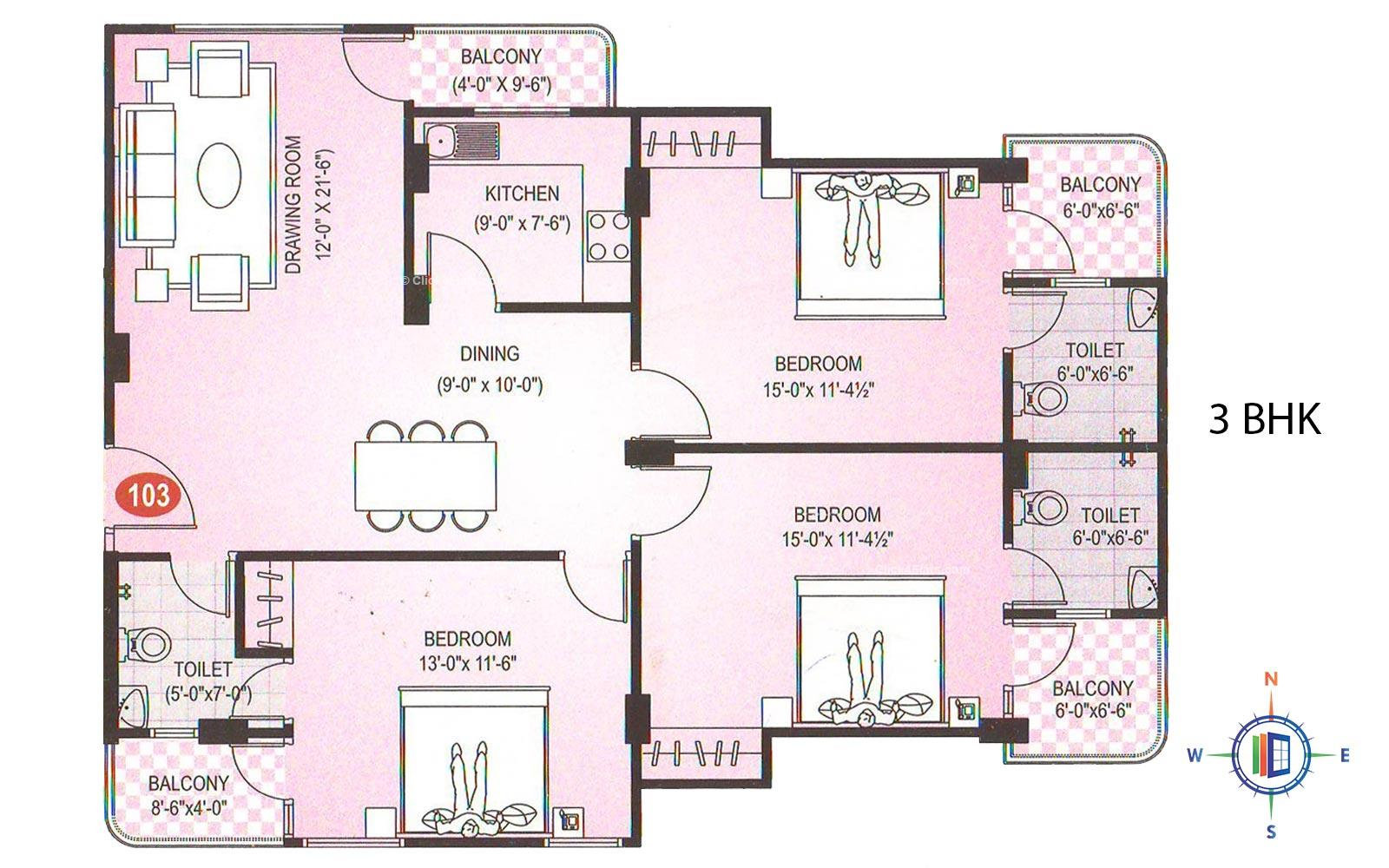 Diamond Residency 3 BHK