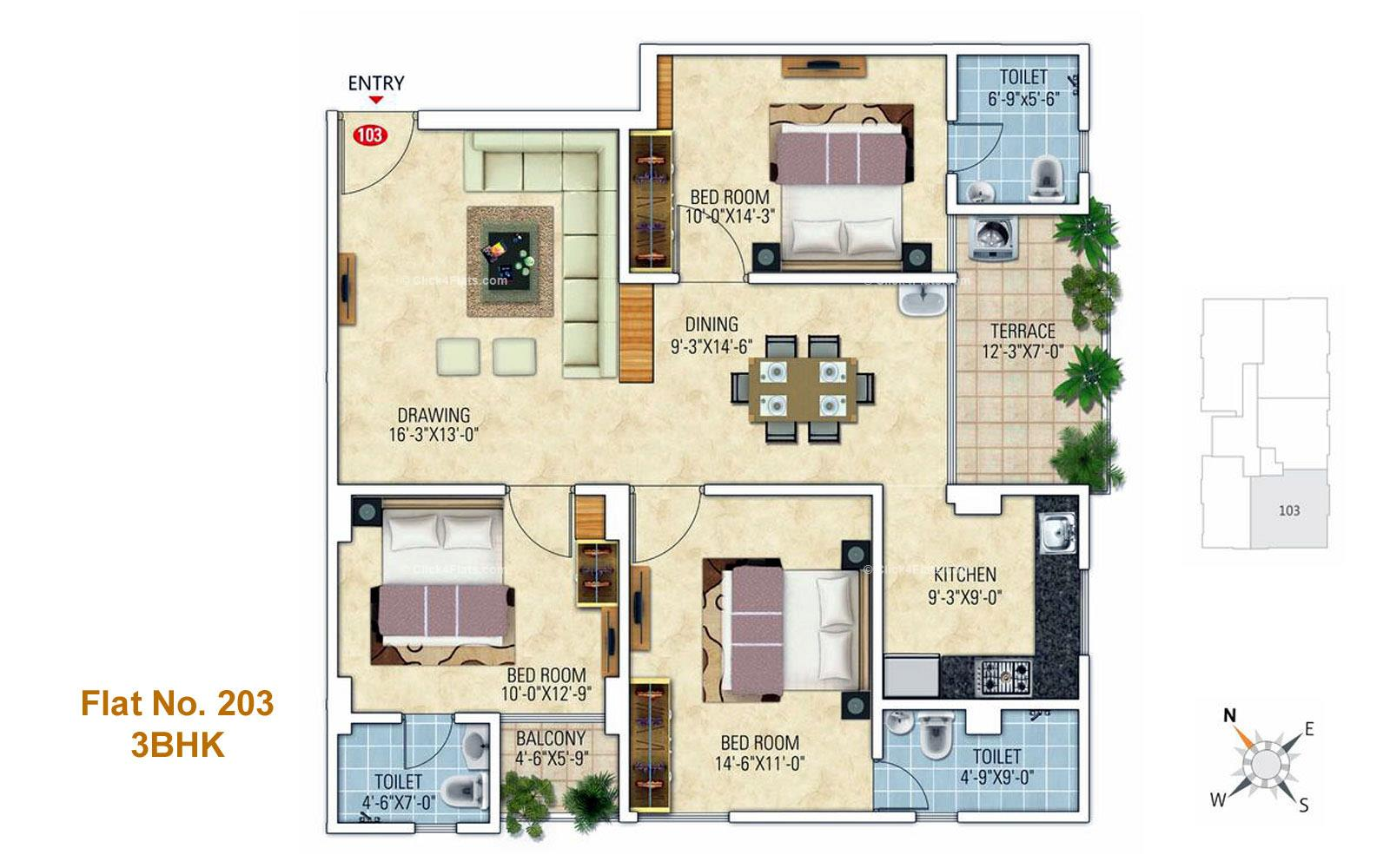 Royal Florence 3 BHK