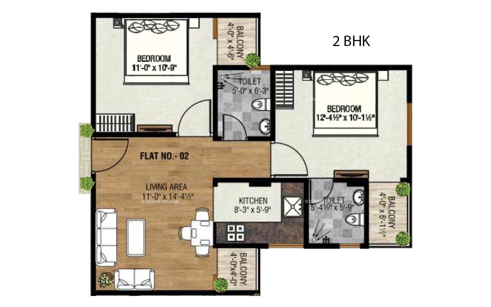Golden Leaf 2 BHK
