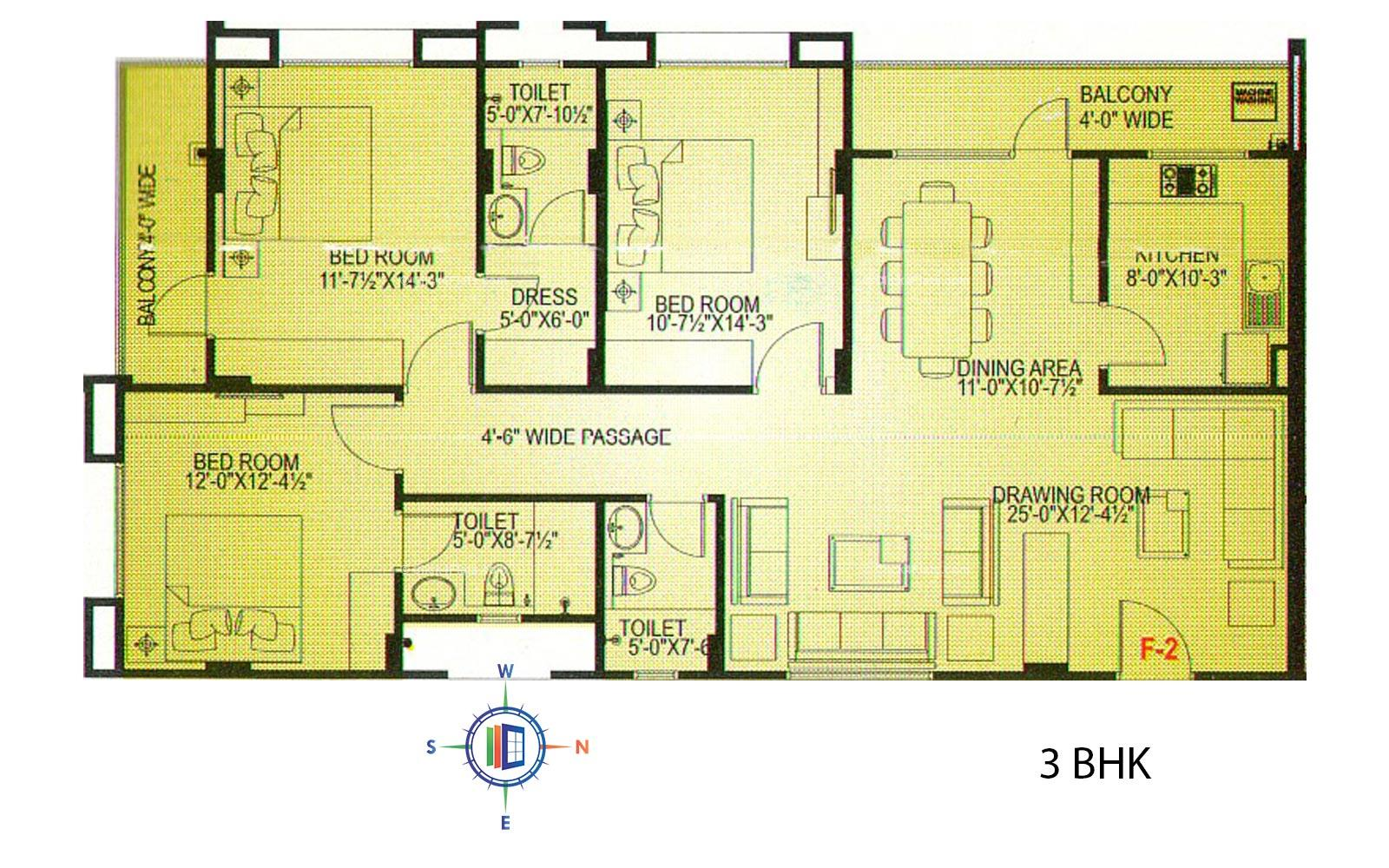 Hare Krishna Homes 3 BHK