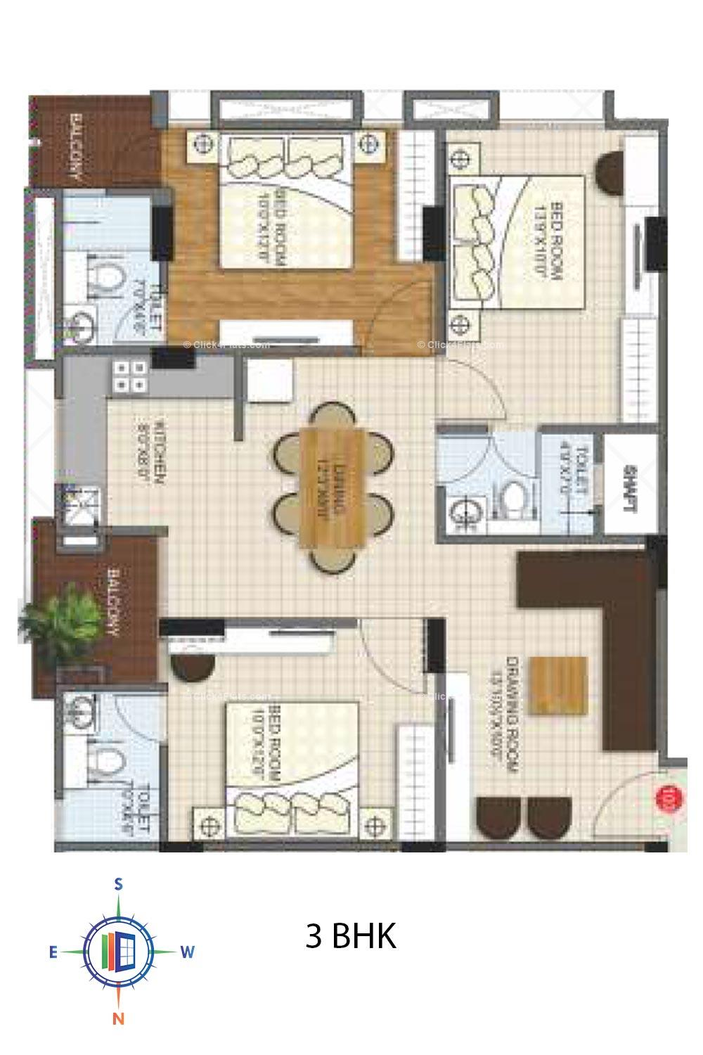 Kediaz Corporate Club 3 BHK