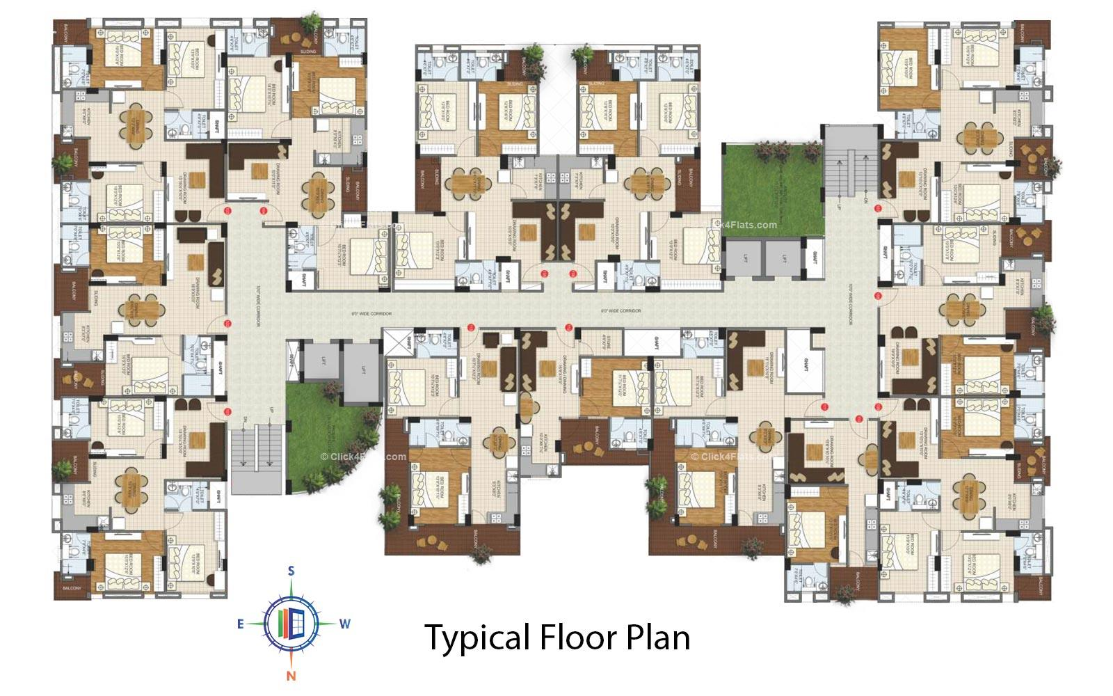 Kediaz Corporate Club Typical Floor Plan