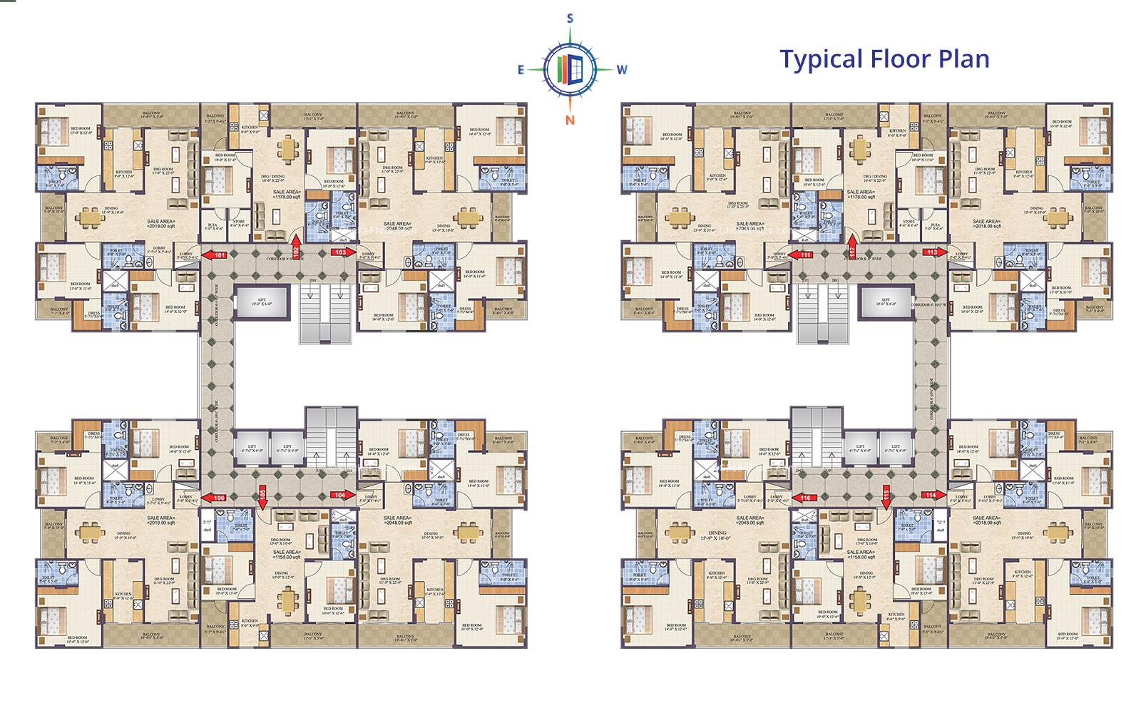 Eminent Towers Typical Floor Plan