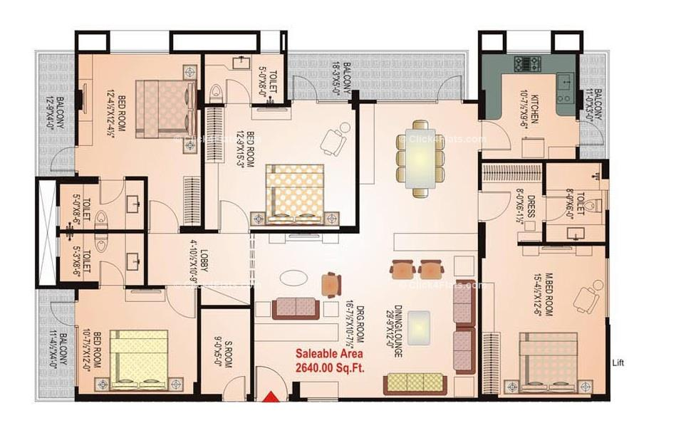 Okay Plus Anand 4 BHK 2640 square feet