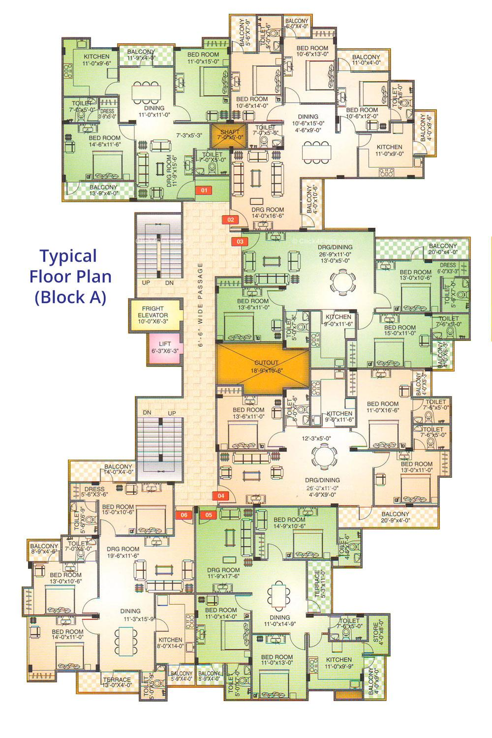 Shivgyan Enclave Typical Floor Plan (Block A)