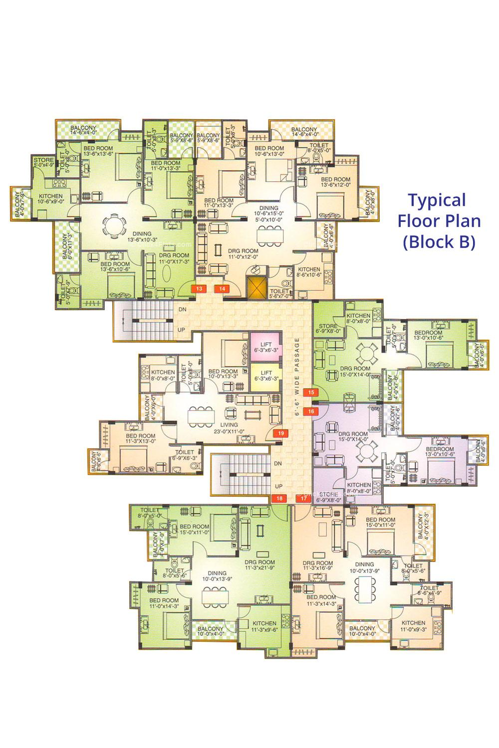 Shivgyan Enclave Typical Floor Plan (Block C)