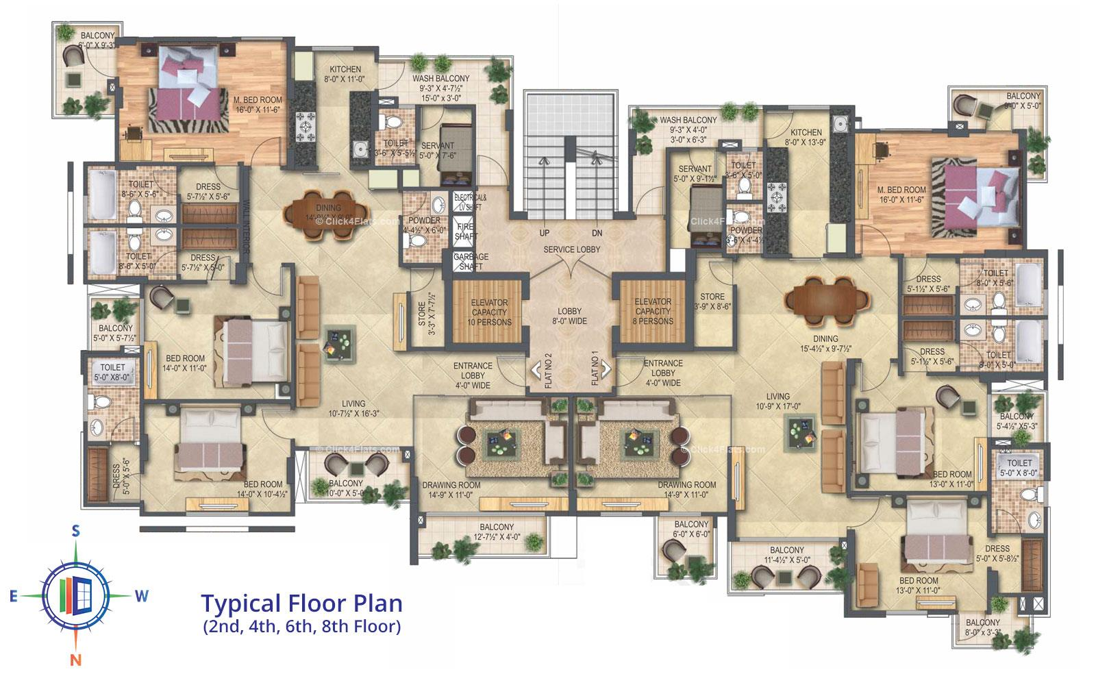 Platinum Typical Floor Plan (2nd, 4th, 6th & 8 Floor)