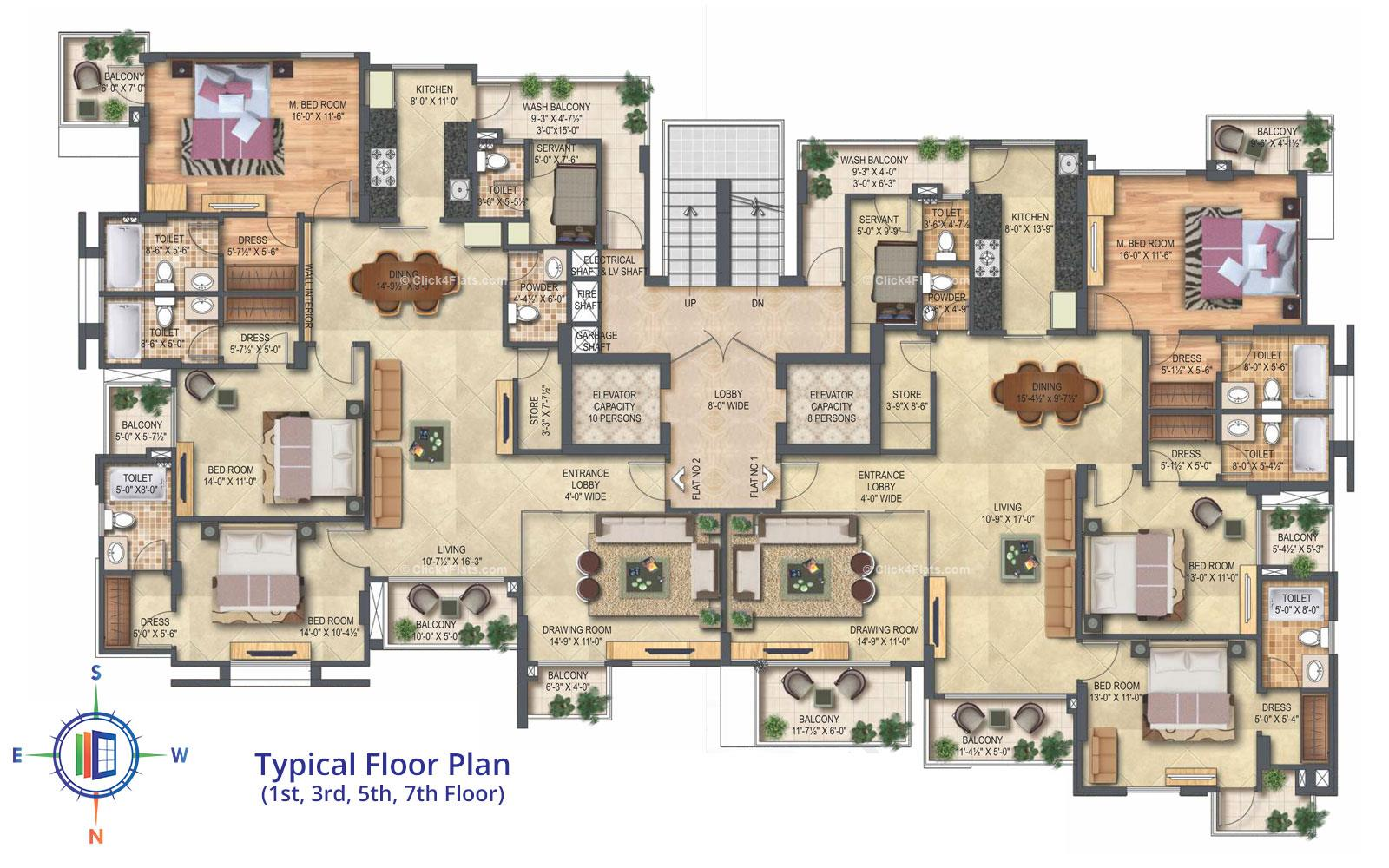 Platinum Typical Floor Plan (1st, 3rd, 5th & 7th Floor)