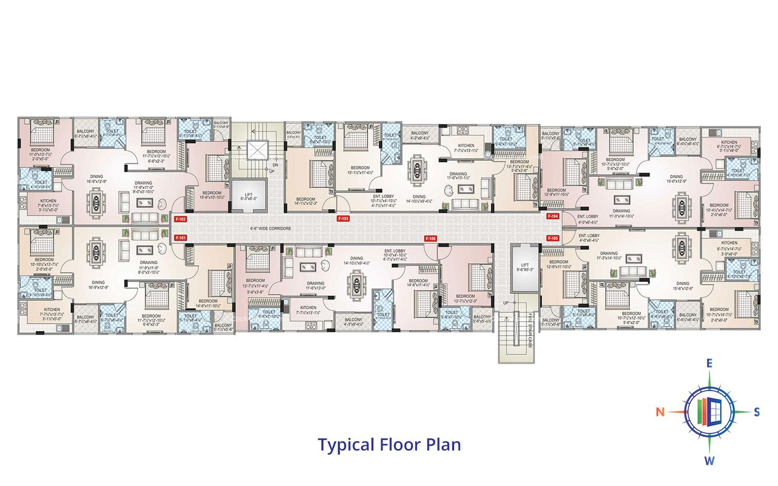 Shivgyan Heights Typical Floor Plan