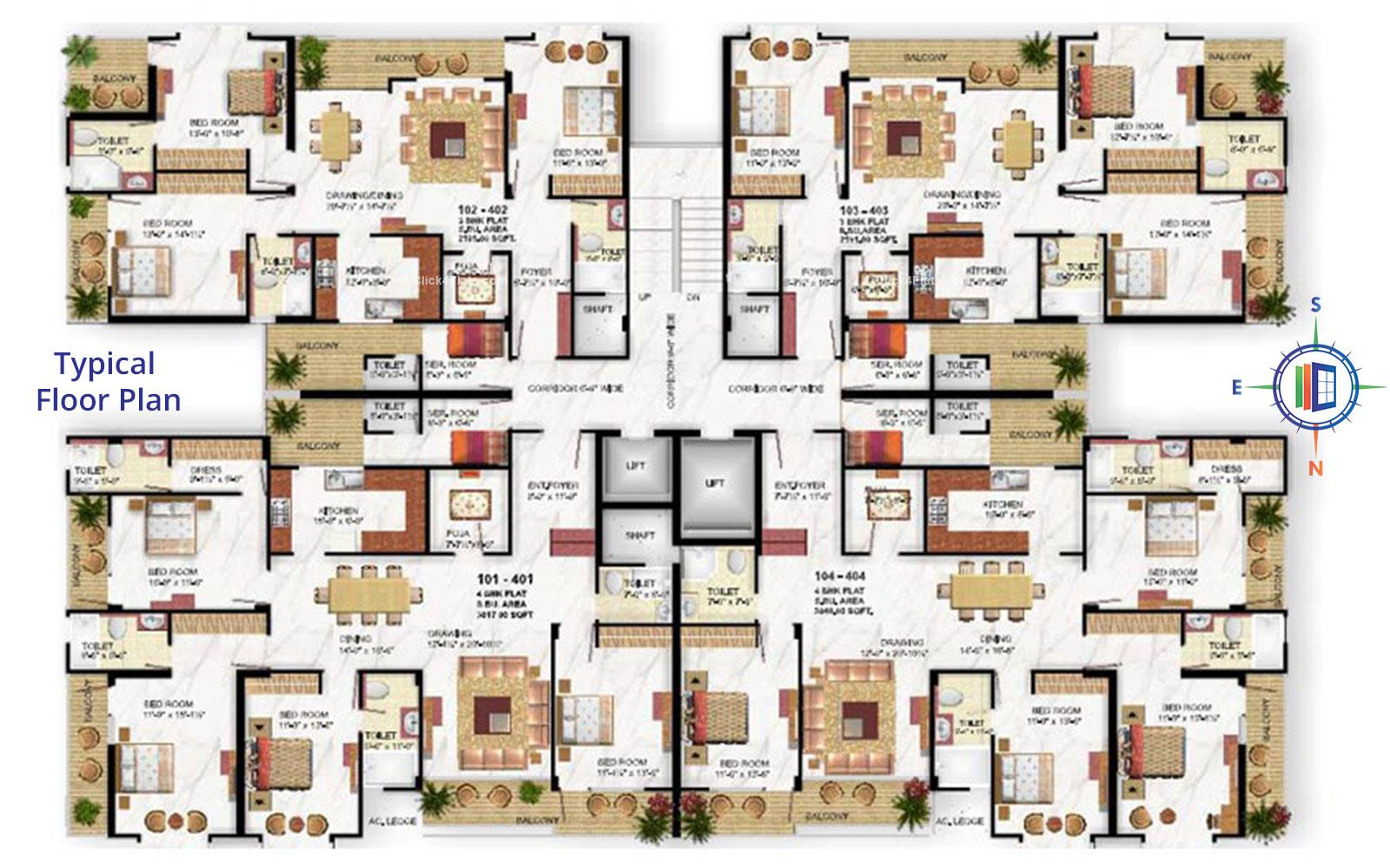 Hari Niwas Typical Floor Plan