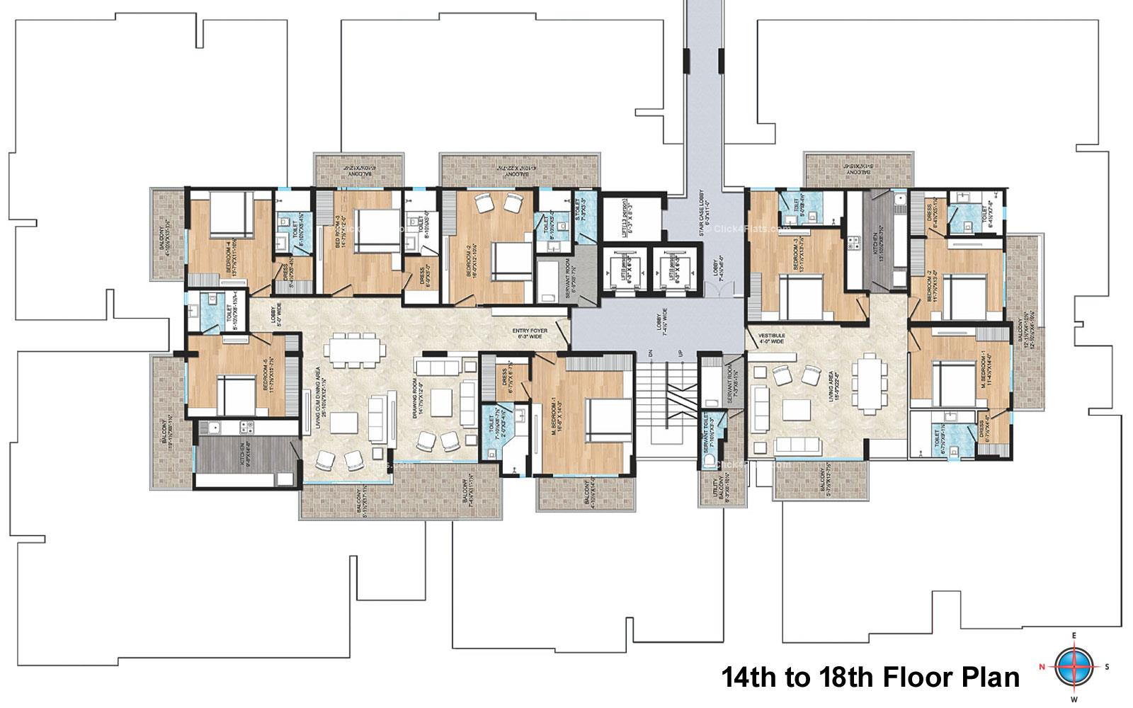 Air Ridhiraj AAA Group 14TH-18TH Floor Typical Layout