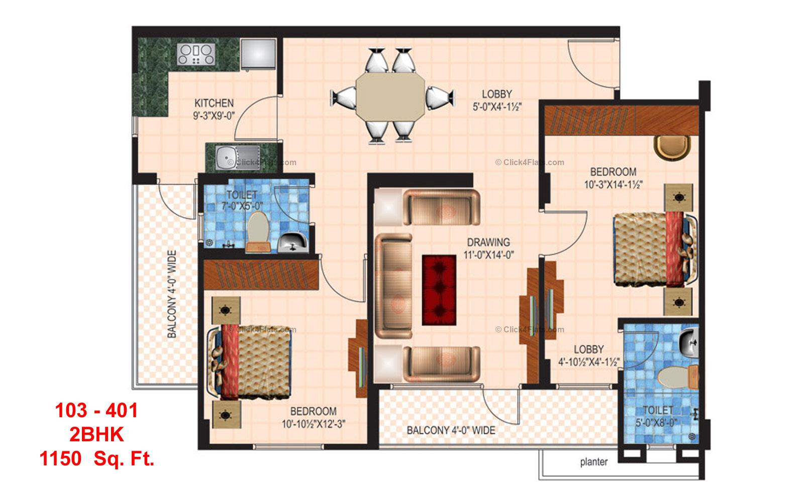 Anukampa Residency 2 BHK 1150 square feet