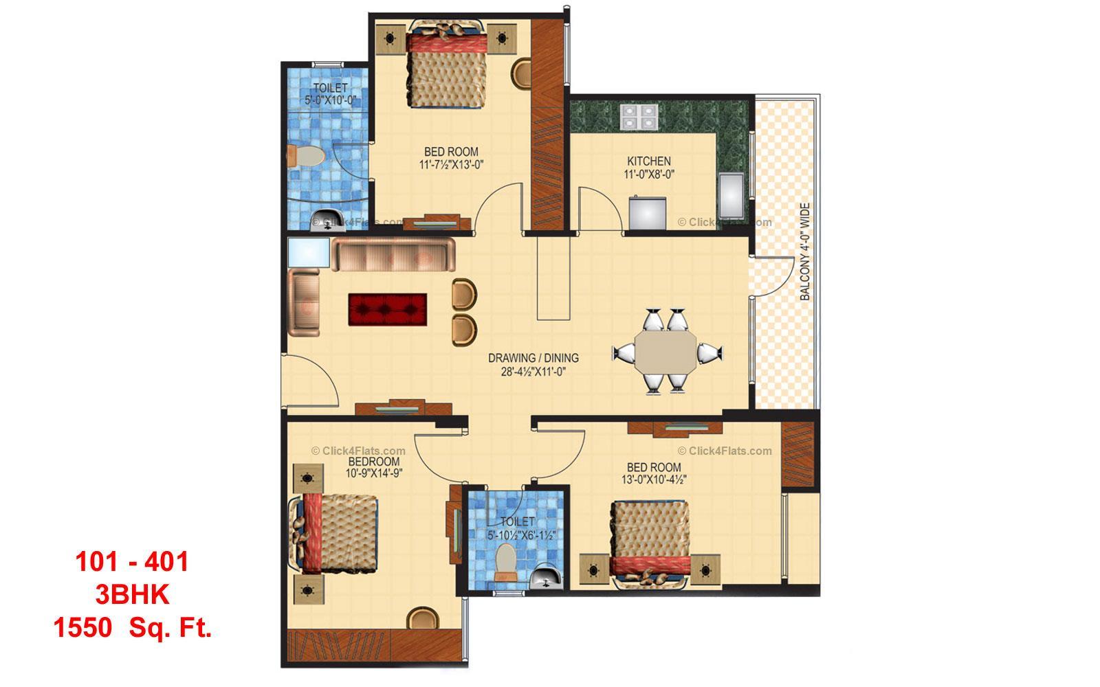 Anukampa Residency 3 BHK 1550 square feet