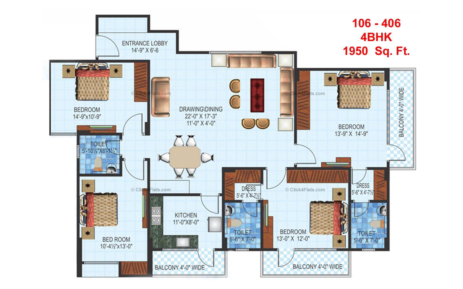 Anukampa Residency 4 BHK 1950 square feet