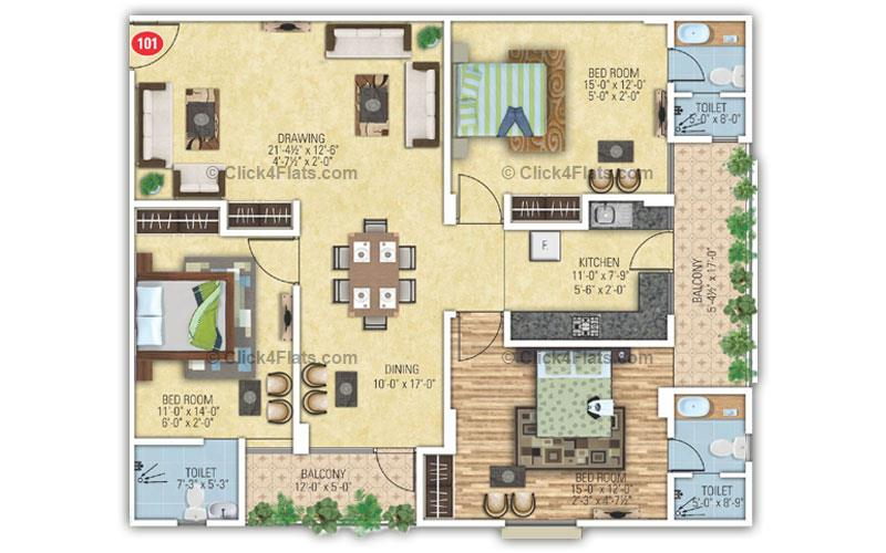 Degra Heights 3 BHK