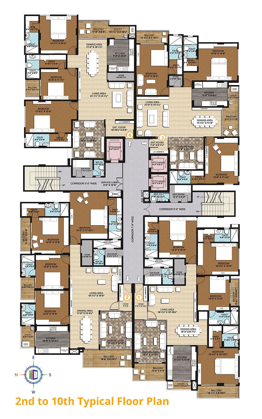 The Park Central Typical Floor Plan
