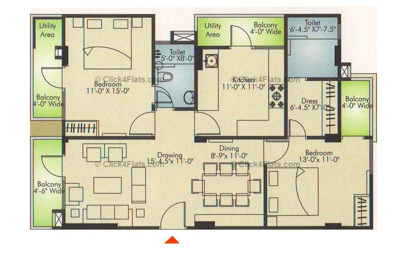 Ridhiraj Residency 2 BHK 1395 square feet