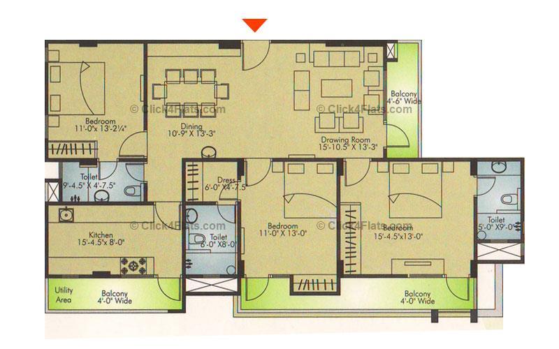 Ridhiraj Residency 3 BHK 1860 square feet