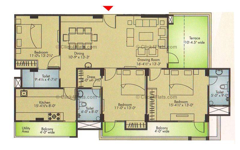 Ridhiraj Residency 3 BHK 1968 square feet