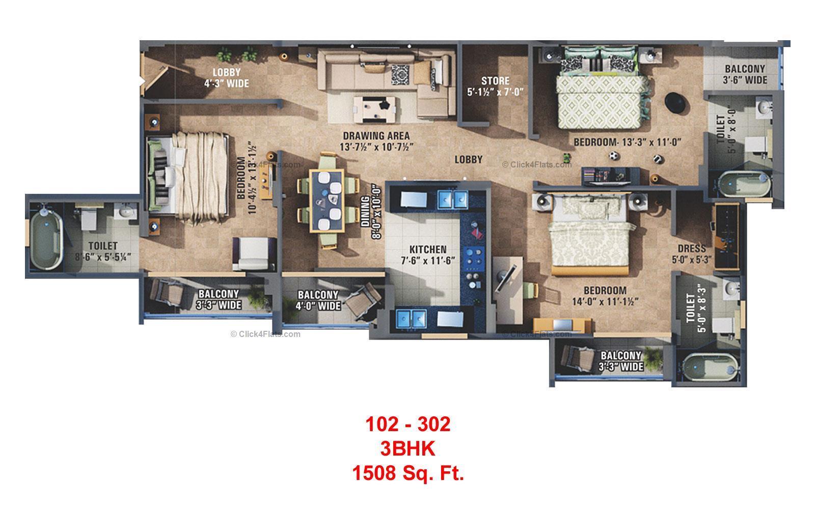 Sunshine Krishna 3 3 BHK 1508 square feet