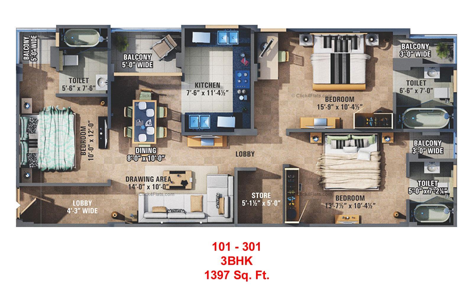 Sunshine Krishna 3 3 BHK 1397 square feet
