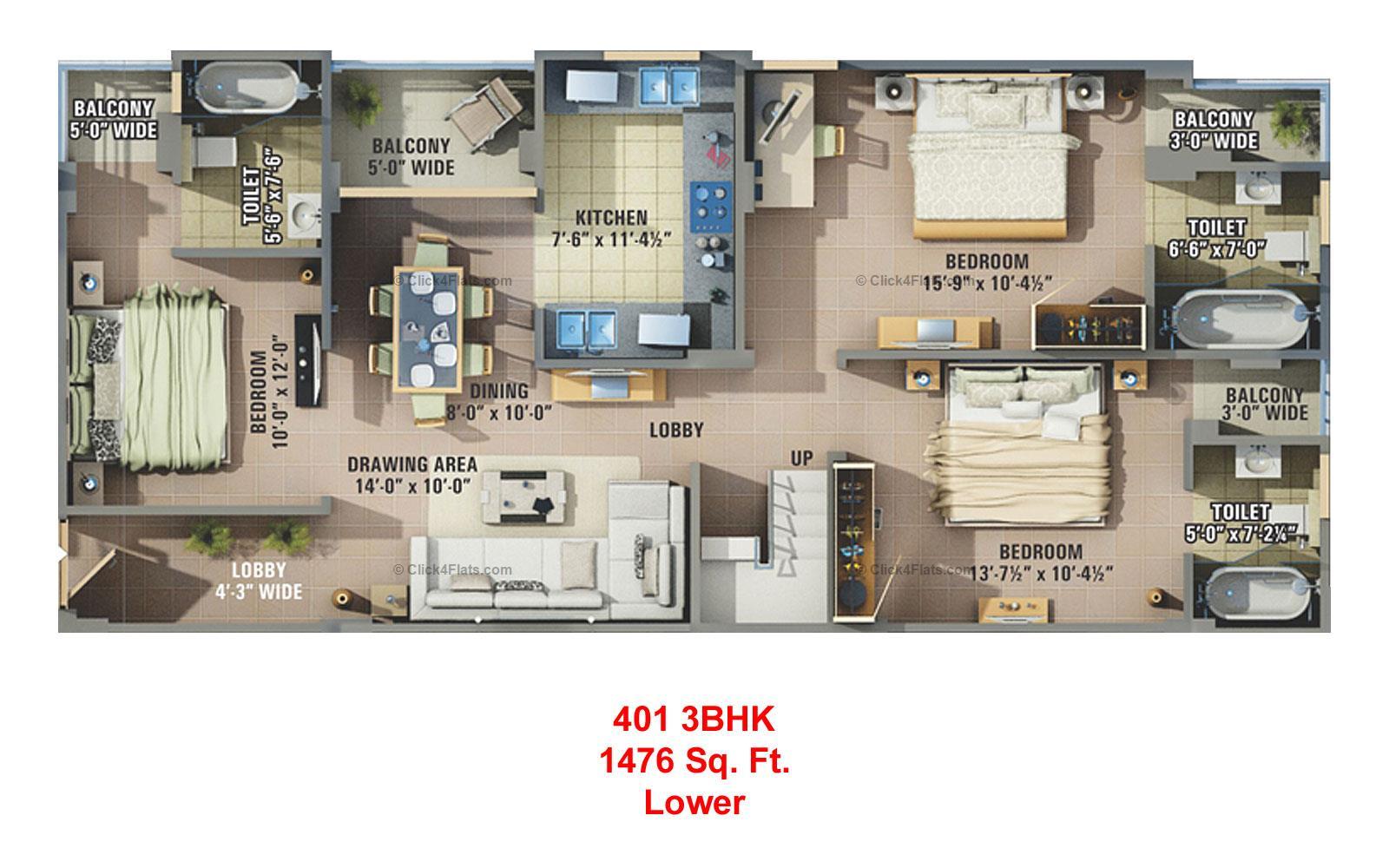 Sunshine Krishna 3 3 BHK 2530 square feet