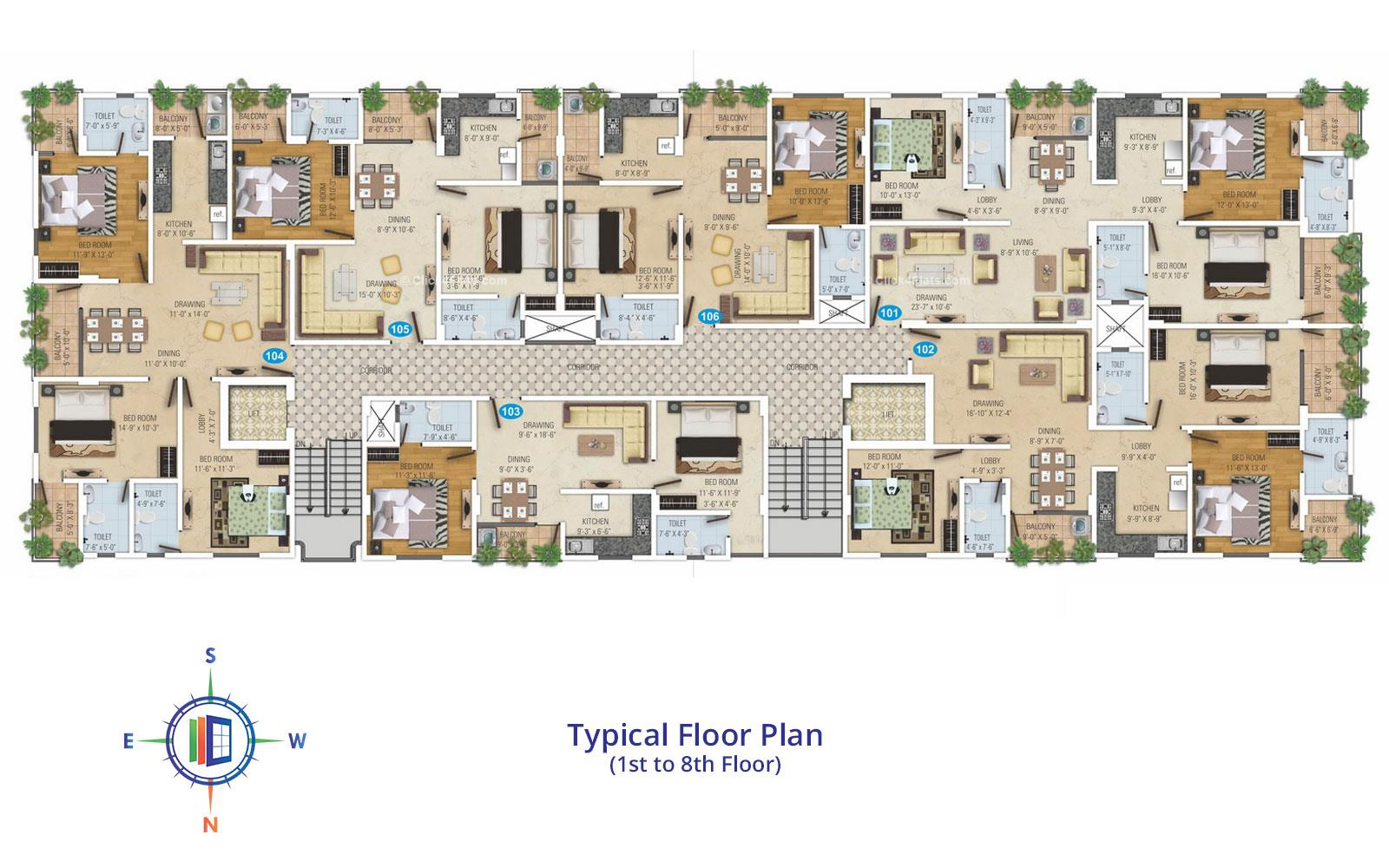 Royal Avenue Typical Floor Plan