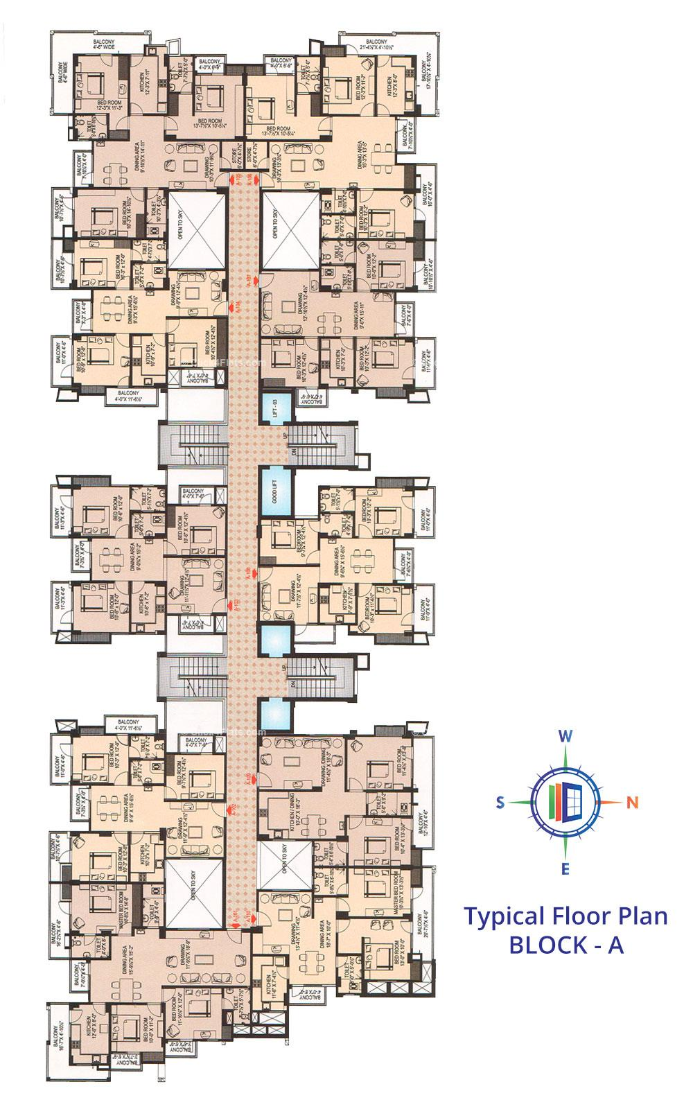 Tirupati Nilay Typical Floor Plan (Block A)