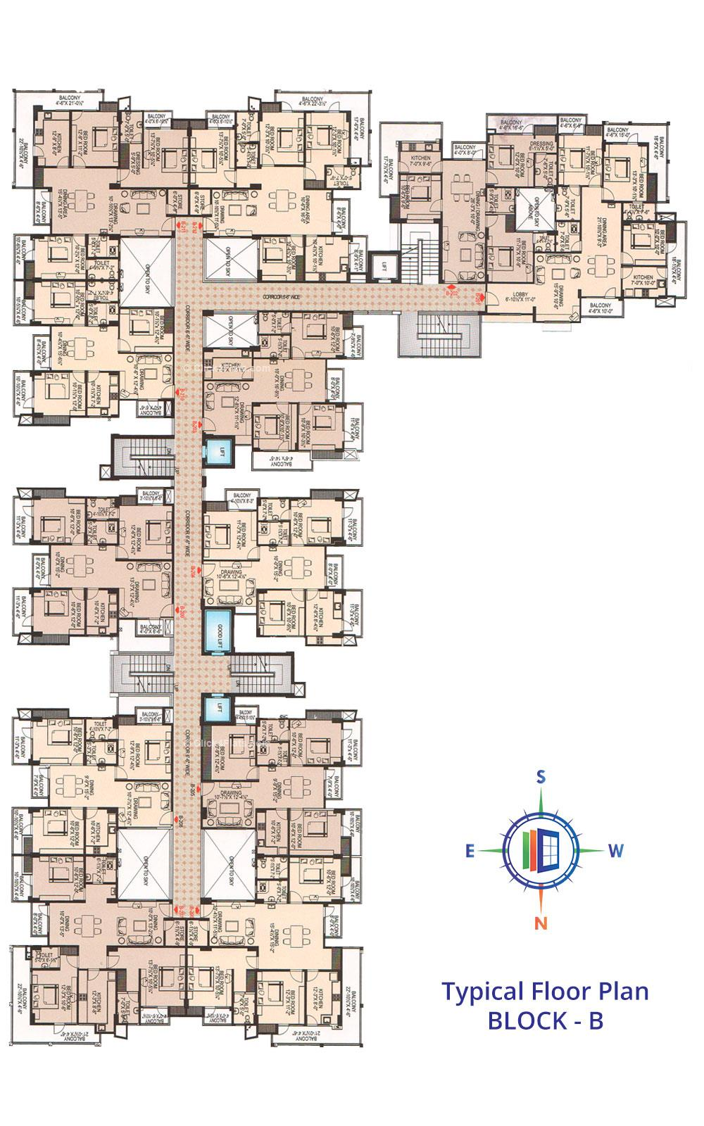 Tirupati Nilay Typical Floor Plan (Block B)