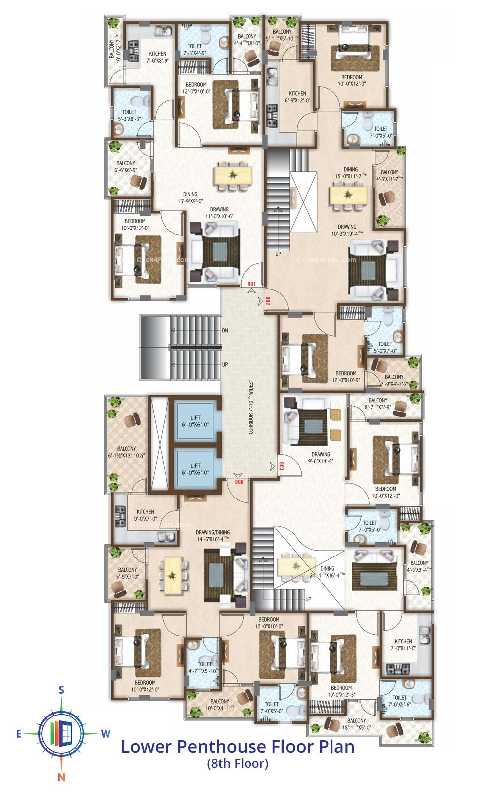 Festiva Lower Penthouse Floor Plan