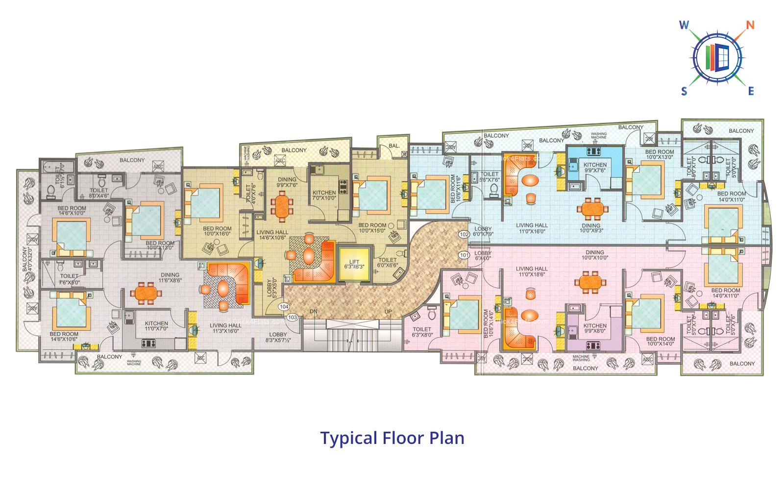 Blue Sky Apartments Typical Floor Plan