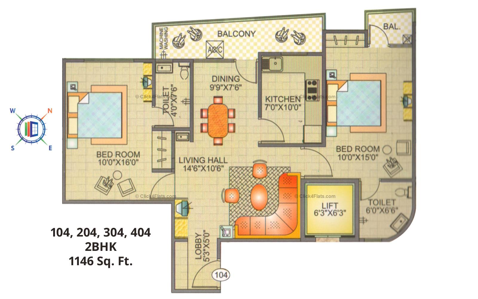Blue Sky Apartments 2 BHK