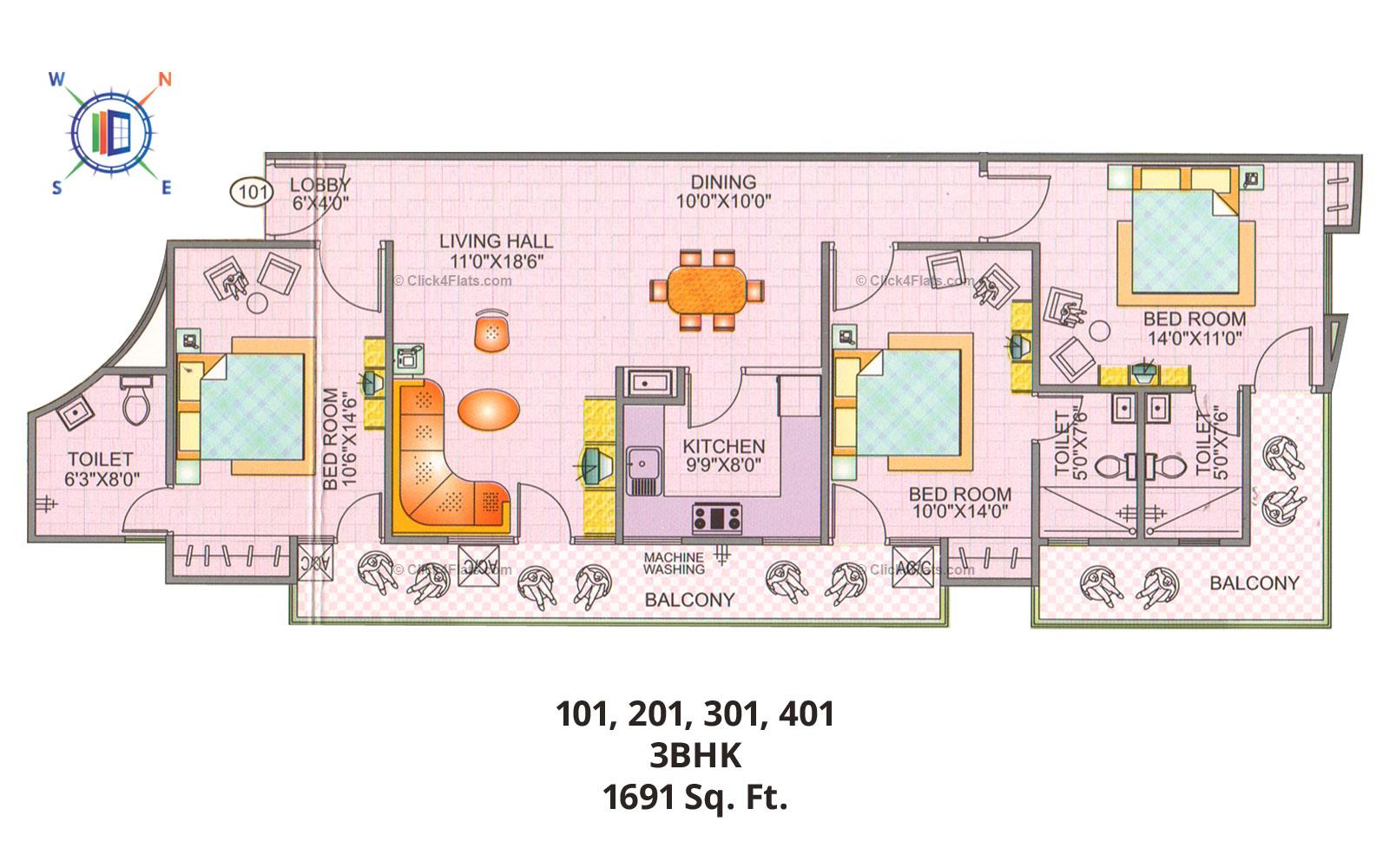 Blue Sky Apartments 3 BHK