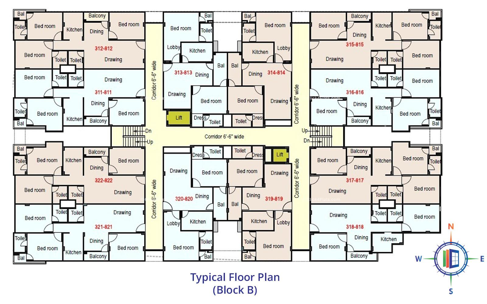 Royale Platinum Typical Floor Plan (Block-B)