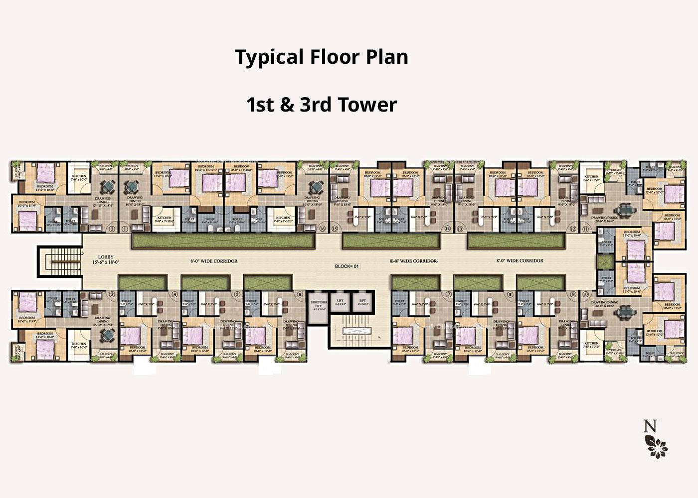 Arihant Legacy Typical Floor Plan (1st & 3rd Block )