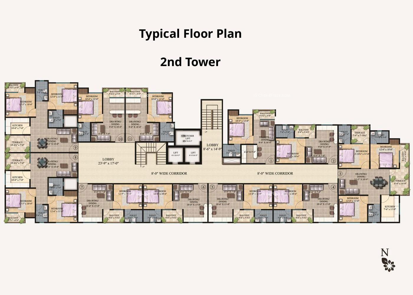 Arihant Legacy Typical Floor Plan (2nd Block)