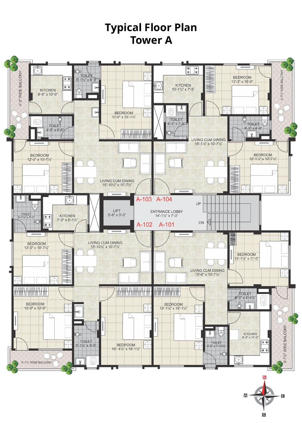 Virat Prime Typical Floor Plan (Tower A)