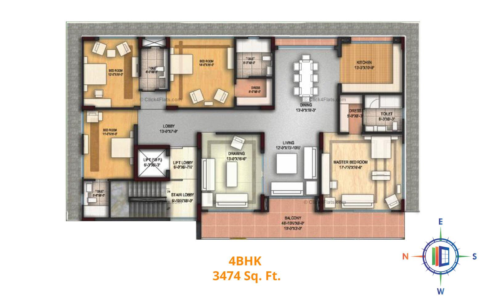 Felicity Aura 4 BHK 3474 square feet