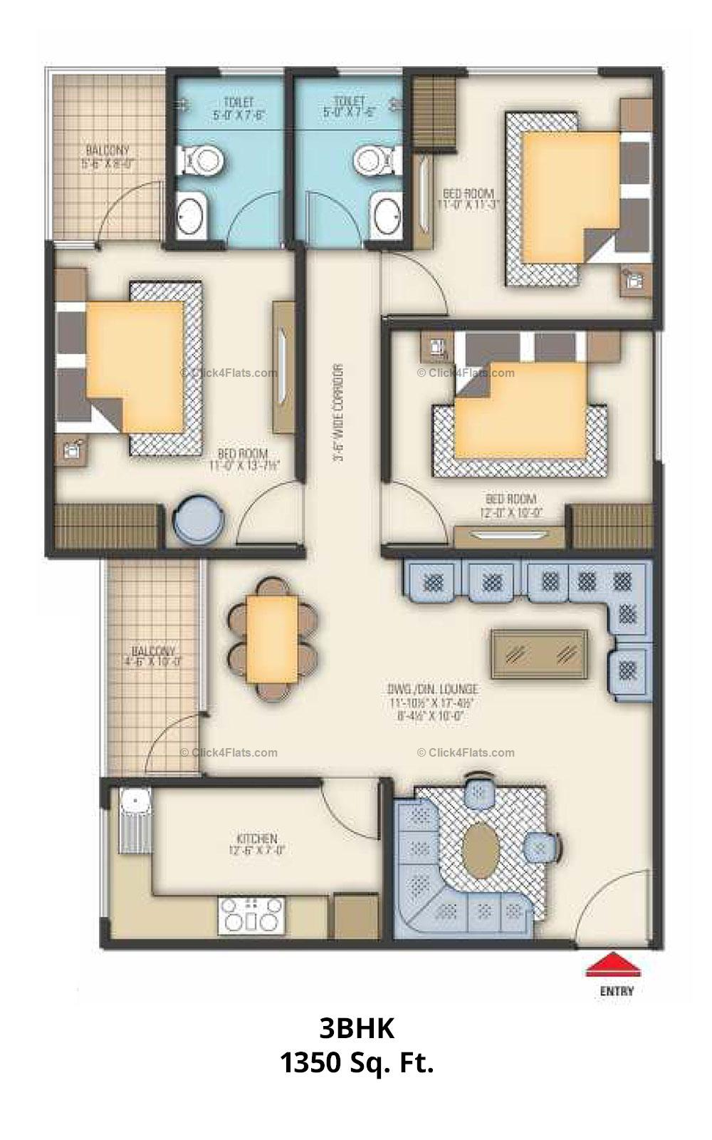 Coral Arihant Heights 3 BHK