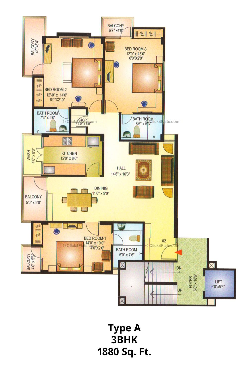 Akshat Royale 3 BHK