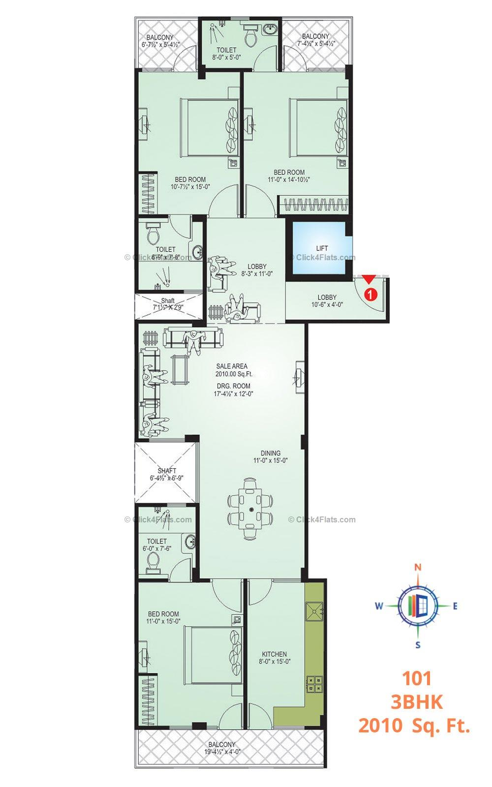 DS Residency 3 BHK