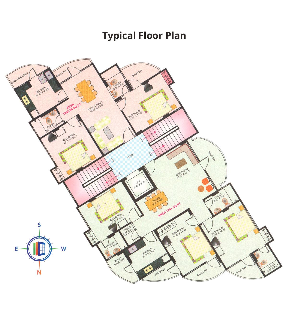 Deenbandhu Anukampa Residency Typical Floor Plan