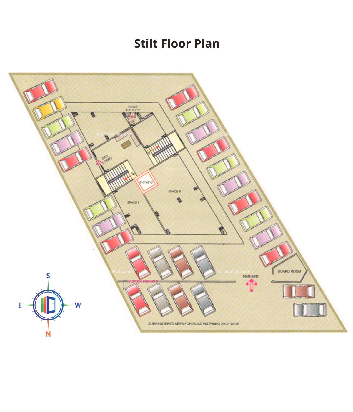 Deenbandhu Anukampa Residency Stilt Floor Plan
