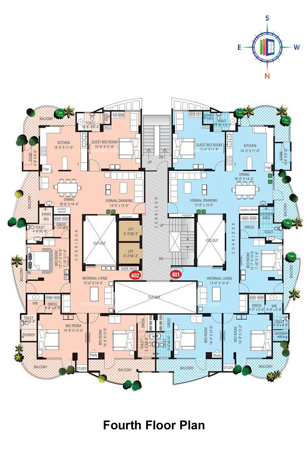 SDC Karan Heights Fourth Floor Plan