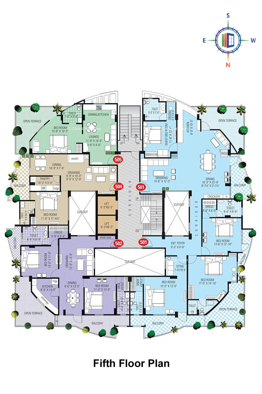 SDC Karan Heights Fifth Floor Plan