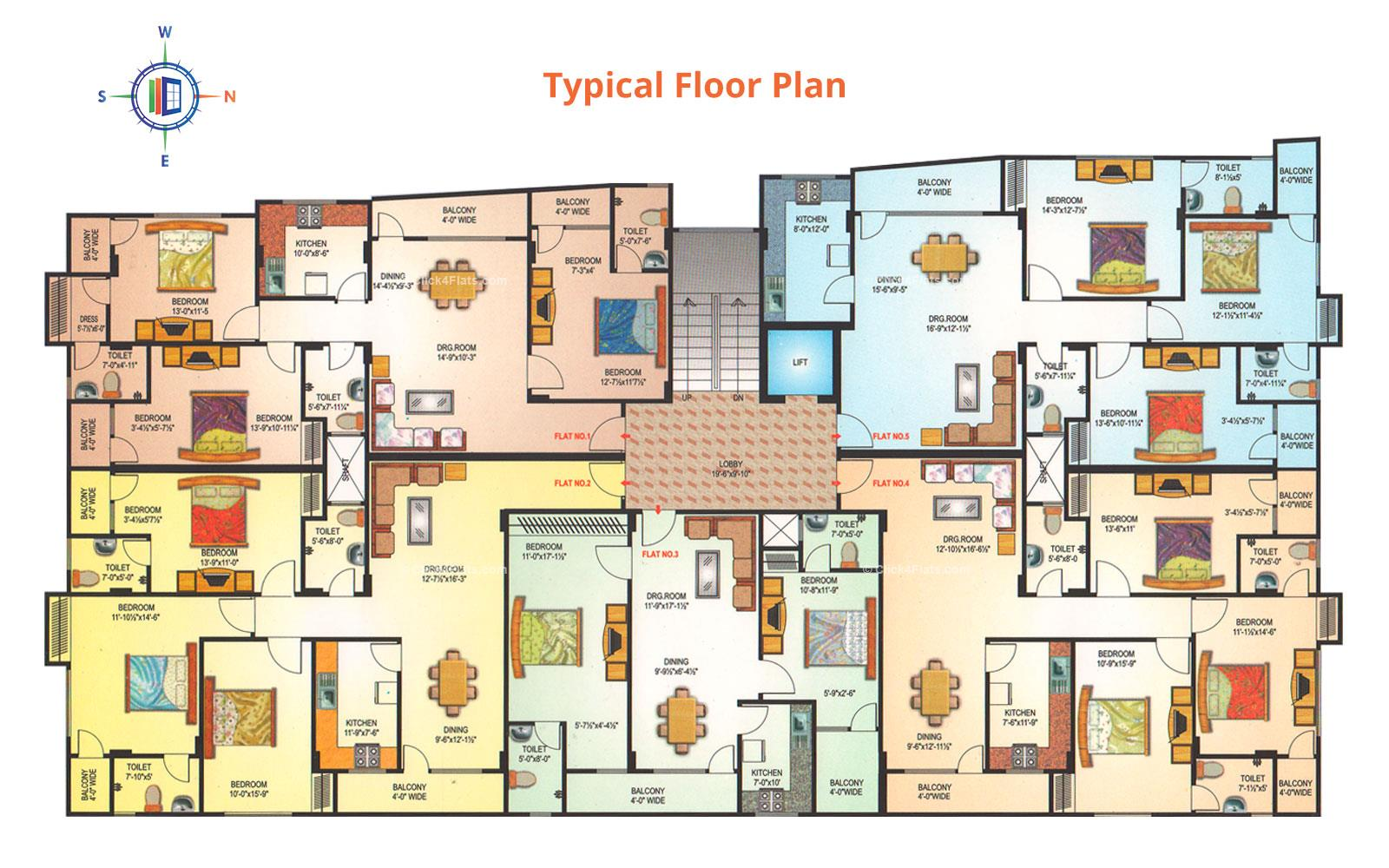 Nakshatra Pride Typical Floor Plan